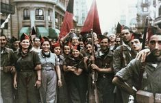 """goodmorningleftside: """"anarchist-left: """" class-war-hooligan: """" Colorized photograph of anarchists in the Spanish Civil War """"The hillsides ring with 'free the people'/Or can I hear the echo of the days..."""