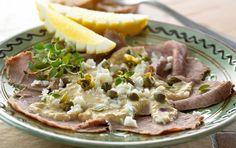 Vitello tonnato - koldt kalvekød med tunsauce