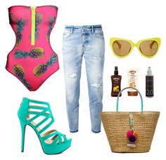 Poolparty ( Cool for the summer edition!) by siamel on Polyvore featuring H&M, Dsquared2, JustFabulous, Caffé, Linda Farrow, Lipsy and Korres