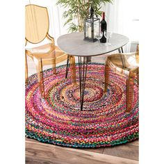 nuLOOM Casual Handmade Braided Cotton Multi Rug (6' x 6' Round) | Overstock.com Shopping - The Best Deals on 5x8 - 6x9 Rugs