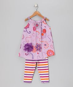 Take a look at this Purple Floral Swing Tunic & Leggings - Toddler & Girls by Daisy Jayne on #zulily today!