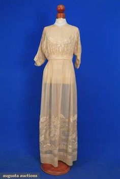 One of three summer tea gowns, c. 1900-1915.  Augusta Auctions