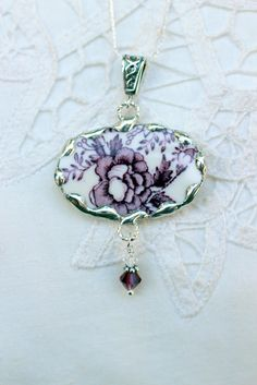 Broken China Jewelry Oval Pendant Necklace by Robinsnestcreation1