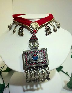 Tribal Kuchi Red Cloth Necklace ATS Belly Dance by MerryMaenad, $73.50
