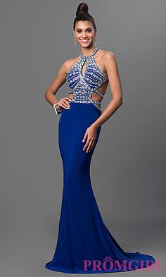 Open Back Floor Length Dress with Jeweled Bodice at PromGirl.com