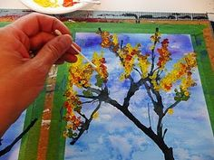 Blown ink trees and q tip paint leaves - Great fall project/ 2nd grade