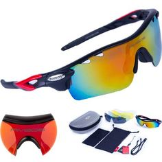 b2174eeb83 RIVBOS 801 POLARIZED Sports Sunglasses with 5 Interchangeable Lenses  Cycling Sunglasses