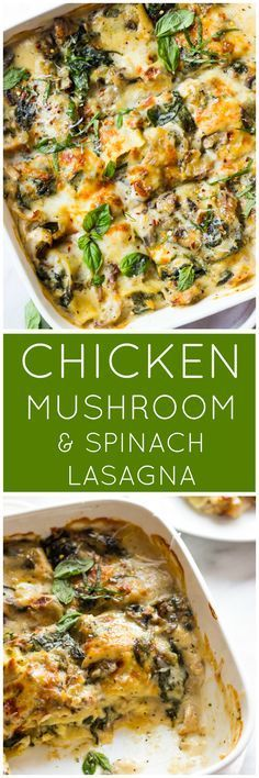 Chicken Mushroom and Spinach Lasagna - made with shredded chicken, fresh spinach, mushrooms, and light sauce | http://littlebroken.com /littlebroken/