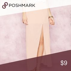 Blush Maxi Skirt w/High Slit ✨BRAND NEW W/TAGS✨ Forever 21 blush maxi skirt in Medium. Absolutely love but did not fit and I no longer have the receipt to return. Forever 21 Skirts Maxi
