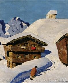 "Farmhouse close by Kitzbühel ""Bauernhof bei Kitzbühel"", about 1930 Oil on Cardboard, 20,47 x 16,54 in (52 x 42 cm) privately owned"