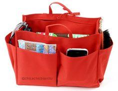 Organizador de bolsos / Organizador para bolsas - Negro/Rojo - Tamaño