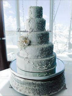 Platinum Iced Wedding Cake! Luxury Wedding Cakes by Lourdes Padilla