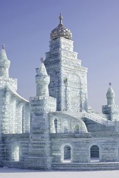 Ice Castle at the Harbin Ice and Snow Festival -Heilongjiang Province, China