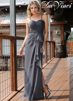 Choose DaVinci Spring 2015 Bridesmaids Style 60207 for your wedding party when you want a long, flowing, chiffon bridesmaid dress with a simple, column silhouette and light details. This bridesmaids gown features draping, gathering, and ruching subtly arranged in a flattering manner. A half slit adds just a touch of sass. Shown in slate, but this cute bridesmaids dress is available in 50+ colors.