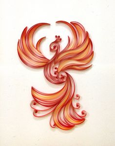 Paper quilling Firebird by Hyvoky on Etsy Paper Quilling Patterns, Quilled Paper Art, Quilling Paper Craft, Diy Paper, Quiling Paper, Phenix Tattoo, Phoenix Tattoo Design, Phoenix Design, Quilling Animals