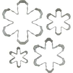 Snowflake Cookie Cutters, 4 piece set, Tin