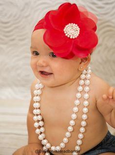 Red Big Flower Headband Red Baby Headband by BySophiaHeadbands, $13.99