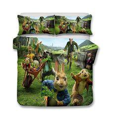 3D Design Peter Rabbit Pattern Queen King Size 3pcs Bedding Sets Quilt Pillow Coverlets Sets Rabbit  Animals