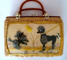 Princess Charming by Atlas natural wicker purse with playful poodles.