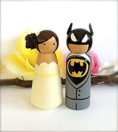 Custom Superhero WEDDING CAKE TOPPER Wood by CreativeButterflyXOX, $70.00