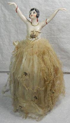 Atq Art Deco Flapper Girl German Bisque Porcelain Doll Half Pin Cusion