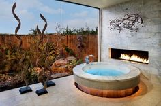 Stylish Contemporary Bathroom Design with Futuristic Touch: Marvelous Round Wirlpool Luxury Bathroom Designs Modern Fireplace Spa Bathroom Design, Spa Like Bathroom, Modern Bathroom, Bathroom Ideas, Bathroom Interior, Jacuzzi Bathroom, Shower Ideas, Bathroom Tubs, Bathroom Marble