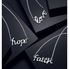 "While supplies last. Sterling silver. Genuine diamond accent. 19"" L chain.Love (7/8"")Hope (7/8"")Faith (1"")STERLING SILVER is the standard for fine silver jewelry in the world over. Only Sterling Silver can be stamped with a ""fineness mark"" of .925 indicating its high quality. $29.99 each."