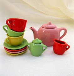 Vintage FiestaLike Tea Set12 by tessiemay on Etsy, $19.00