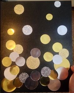 Paper on canvas board - silver, gold, and black