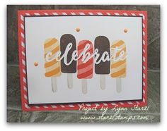 Stampin'Up! Cool Treats stamp set stamped on the Celebrations Duo embossing folder. http://www.starzlstamps.com/2017/01/cool-treats-stamp-set-celebrations-duo-textured-impressions-embossing-folders.html