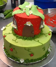 Strawberry Shortcake themed cake by 3 Women and an Oven in Overland Park, KS  http://3womendesserts.com/