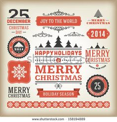 Christmas decoration vector design elements collection. Typographic elements…