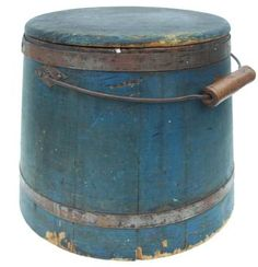 Mid 19th century old blue wooden bucket w/lid