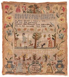 "Sampler, 1773, inscribed ""Catharine Congdon born November 10 1763 made November 1773"", 1773. Medium: silk embroidery on linen foundation Technique: embroidered in cross, half-cross, buttonhole, satin, stem, and back stitches on plain weave foundation. Cooper-Hewitt Museum"