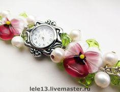 Часы `Нежность`. Романтичные летние часики с бусинами ручной…