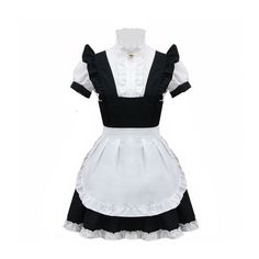 Anime Wig Cosplay Costume Lolita Bell Black And White Maid Costume ($27) ❤ liked on Polyvore featuring costumes, wig costumes, role play costumes, animal halloween costumes, chambermaid costume and cosplay costumes