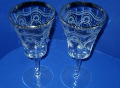 Elegant Paneled Pair Toasting Glasses Etched With Textured Platinum Rims #Unbranded