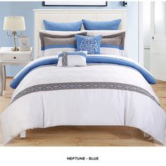 11-Piece Set: Contemporary Embroidered Comforter Collection - Assorted Styles