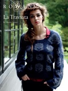 Free Pattern from Rowan La Traviata - stunning womens round neck sweater adorned with a pretty flowers and peacocks knitted using the intarsia technique