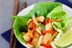 Thai Basil Chicken Lettuce Wraps {Gimme Some Oven} use sunflower oil, Reishi or Maitake mushrooms, coconut aminos instead of soy, apple cidar vinegar, homemade fish sauce, homemade chile garlic sauce (http://pinterest.com/pin/83387030571368873/), and almonds instead of peanuts.  Omit the carrots
