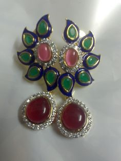 #Indian #earrings #ruby #accessories #fashion #elegant #party wear #Indian wedding #jewelry