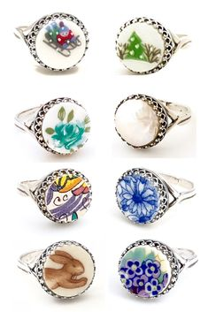 A great gift for your wife, girlfriend, or dear friend! These sterling silver handmade rings are even more darling in person. Each one is unique, hand carved from broken china and given a new purpose - to be beautiful! The ri Diy Jewelry Unique, Recycled Jewelry, Jewelry Crafts, Jewelry Art, Unique Gifts, Jewelry Design, Broken China Crafts, Broken China Jewelry, Handmade Rings