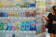 Virtual Shopping Store opens in Korea. All the Shelves are LCD Screens. Shoppers choose their desired items by touching the LCD screen and checkout at the counter in the end to have all their ordered stuff packed in Bags.