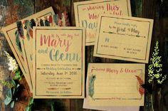 Feather Watercolor Wedding Package by KlapauciusCo on @creativemarket