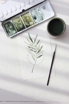 Green Watercolor, Abstract Watercolor, Watercolor Illustration, Watercolour Painting, Watercolors, Watercolor Plants, Gold Tattoo, Watercolor Projects, Floral Illustrations