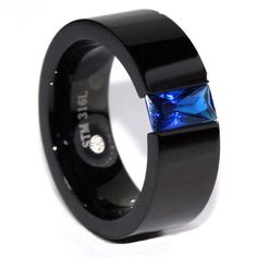 Thin Blue Line Stainless Steel Black with Sapphire Blue Emerald Stone – ThinRedBlueLine