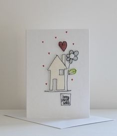 'Home Sweet Home' - Handmade Blank Card New Home Cards, Freehand Machine Embroidery, Embroidery Cards, Fabric Cards, Blank Cards, Creative Cards, Wood Crafts, Card Stock, Birthday Cards