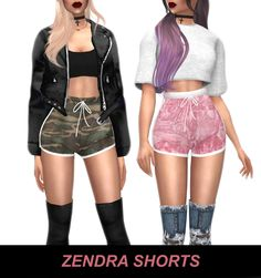 Sims4CCfinds — kenzar-sims4: TS4 Zendra Shorts 8 swatches...