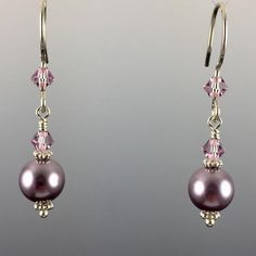 Swarovski Crystal & Swarovski Crystal Pearls  8mm Pearl at the bottom 100% .925 Sterling Silver Earwires & Components with Rubber Backers Earwires and L
