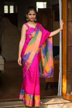 Fuschia Pochampally pure silk saree with Ikat woven border and details #saree #pochampally #ikat #handloom #india #houseofblouse